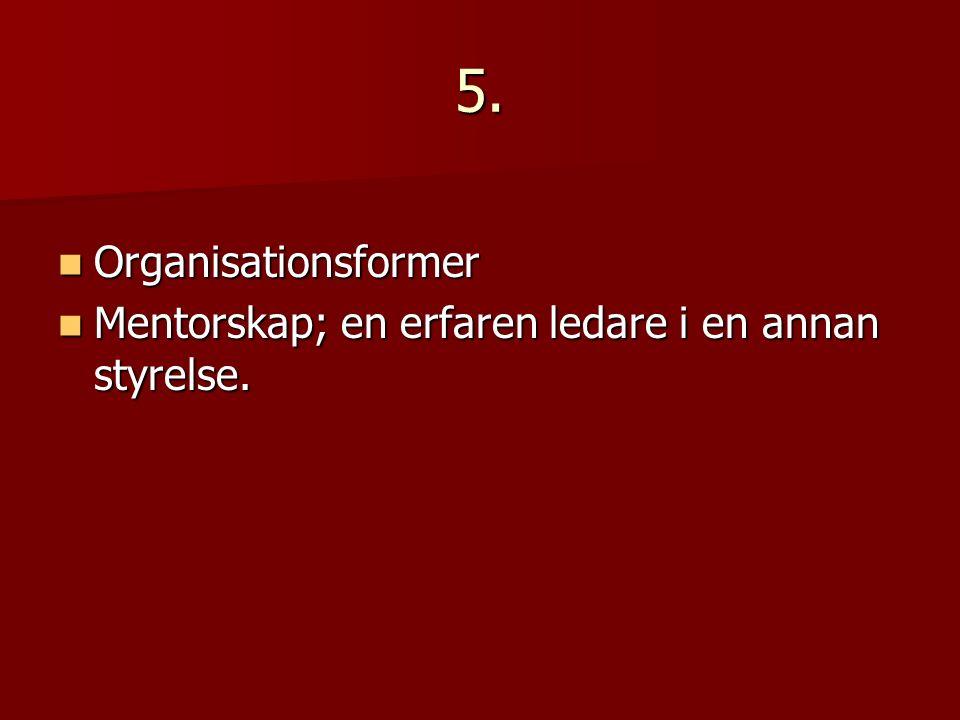 5. Organisationsformer Organisationsformer Mentorskap; en erfaren ledare i en annan styrelse.