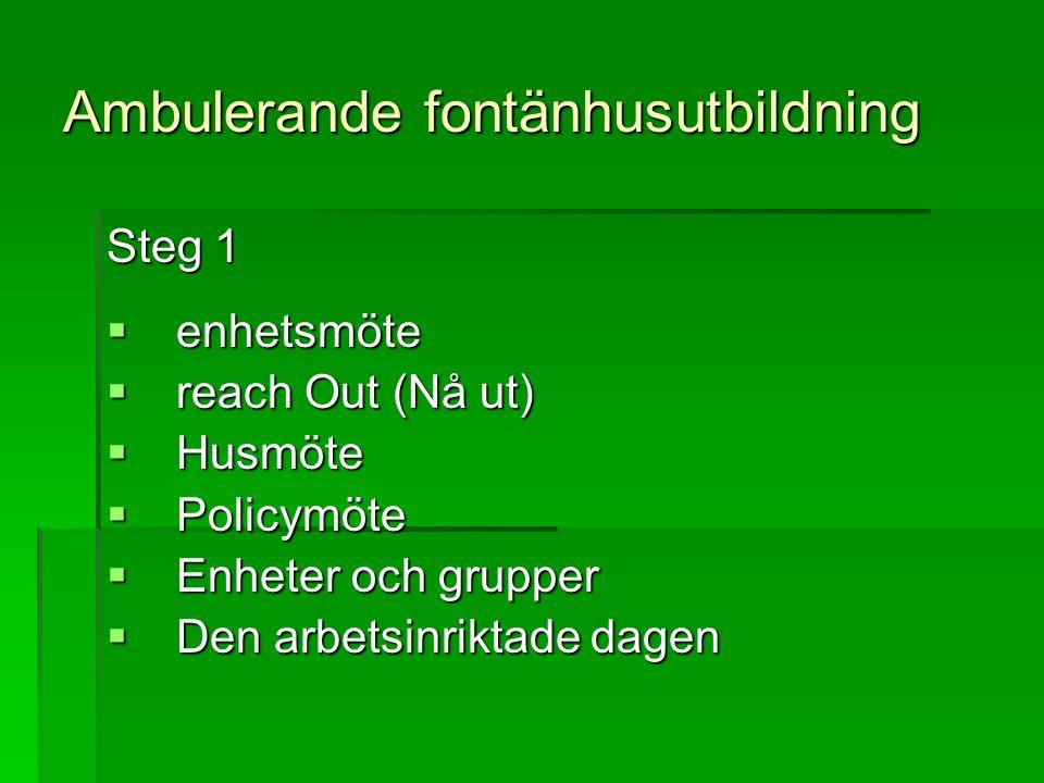 Ambulerande fontänhusutbildning Steg 1  enhetsmöte  reach Out (Nå ut)  Husmöte  Policymöte  Enheter och grupper  Den arbetsinriktade dagen