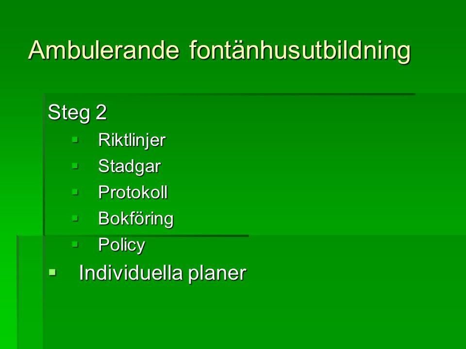 Ambulerande fontänhusutbildning Steg 2  Riktlinjer  Stadgar  Protokoll  Bokföring  Policy  Individuella planer