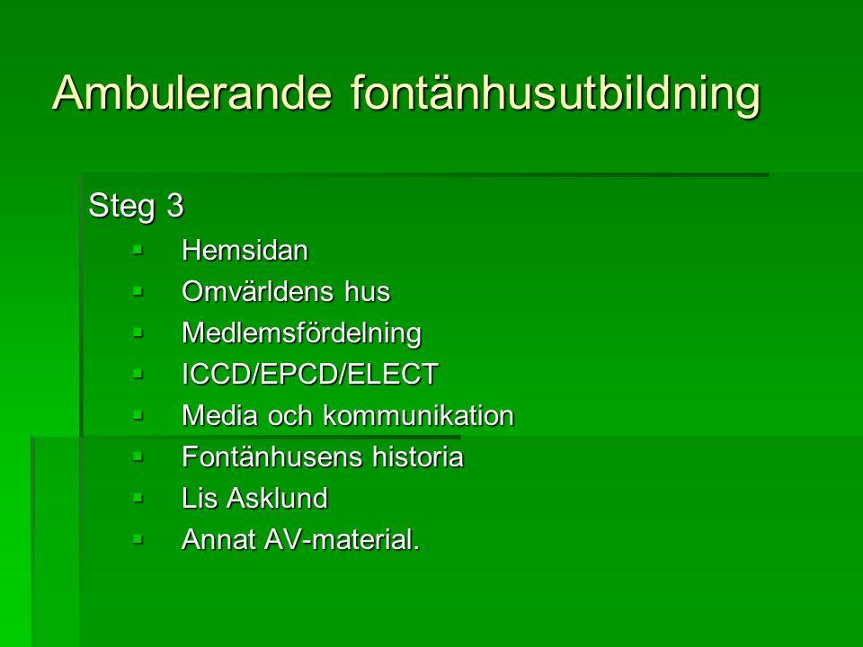 Ambulerande fontänhusutbildning Steg 3  Hemsidan  Omvärldens hus  Medlemsfördelning  ICCD/EPCD/ELECT  Media och kommunikation  Fontänhusens historia  Lis Asklund  Annat AV-material.