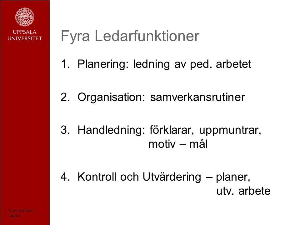 Fyra Ledarfunktioner 1.Planering: ledning av ped.