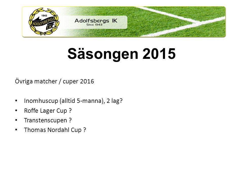 Övriga matcher / cuper 2016 Inomhuscup (alltid 5-manna), 2 lag.