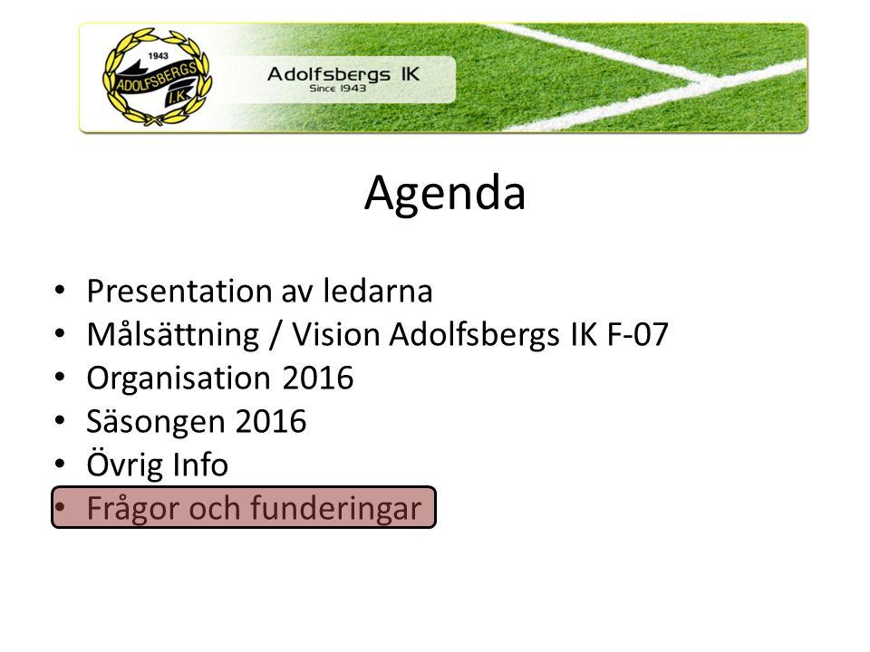 Agenda Presentation av ledarna Målsättning / Vision Adolfsbergs IK F-07 Organisation 2016 Säsongen 2016 Övrig Info Frågor och funderingar