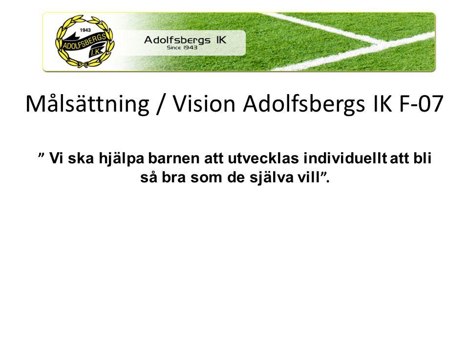 Målsättning / Vision Adolfsbergs IK F-07 Ledare, spelare, föräldrar och övriga supporters Denna utvecklingsplan syftar till att skapa en medvetenhet hos ledare, spelare, föräldrar och övriga supporters om vilka riktlinjer ungdomsfotbollen i Adolfsbergs IK arbetar efter och vilka krav det ställer på alla de inblandade.
