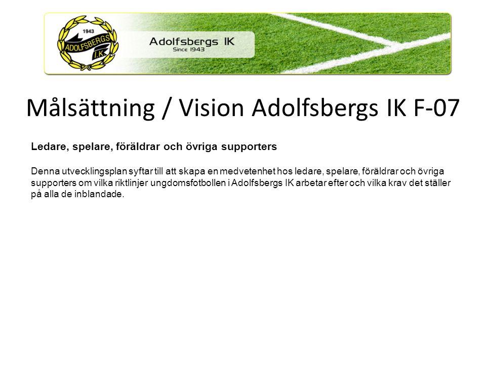 Mål Att alla spelare, ledare, föräldrar och övriga supporters i samband med träning och match ska ha roligt tillsammans.
