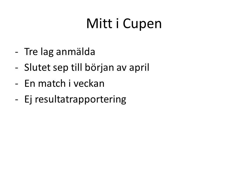 Mitt i Cupen -Tre lag anmälda -Slutet sep till början av april -En match i veckan -Ej resultatrapportering