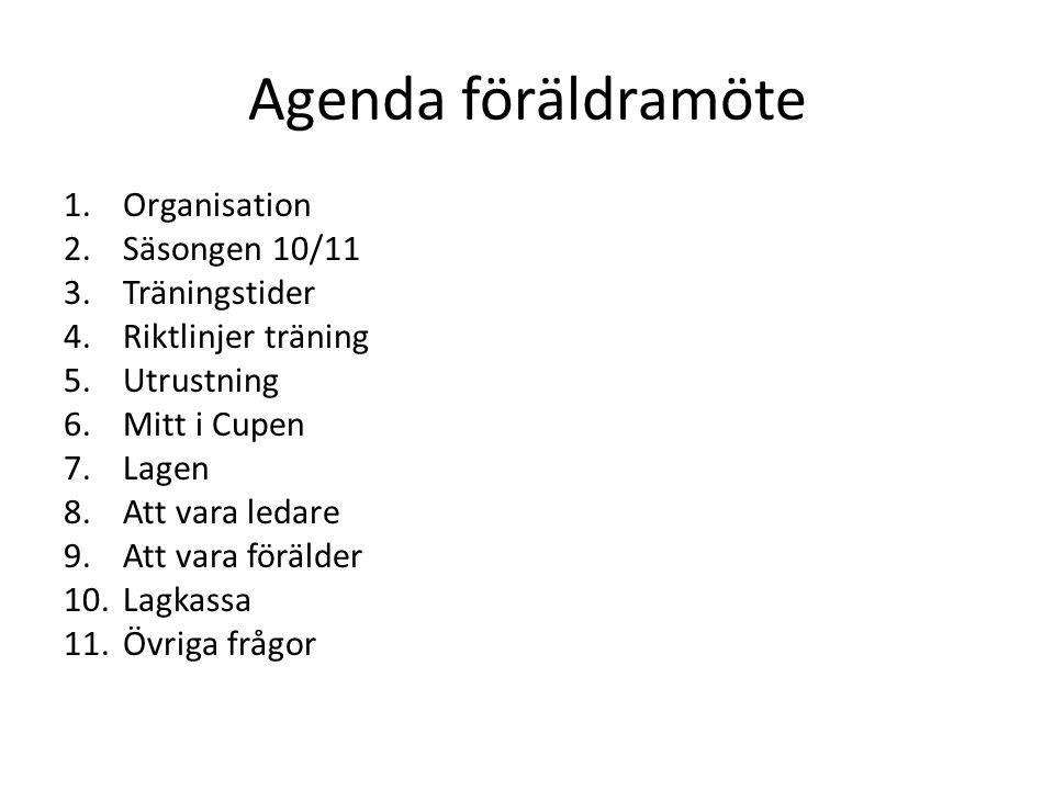 Agenda föräldramöte 1.Organisation 2.Säsongen 10/11 3.Träningstider 4.Riktlinjer träning 5.Utrustning 6.Mitt i Cupen 7.Lagen 8.Att vara ledare 9.Att vara förälder 10.Lagkassa 11.Övriga frågor