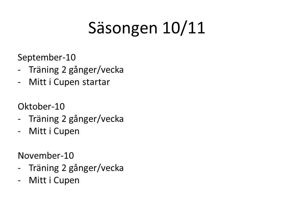 Säsongen 10/11 September-10 -Träning 2 gånger/vecka -Mitt i Cupen startar Oktober-10 -Träning 2 gånger/vecka -Mitt i Cupen November-10 -Träning 2 gånger/vecka -Mitt i Cupen