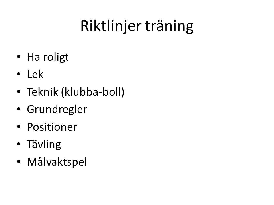 Riktlinjer träning Ha roligt Lek Teknik (klubba-boll) Grundregler Positioner Tävling Målvaktspel