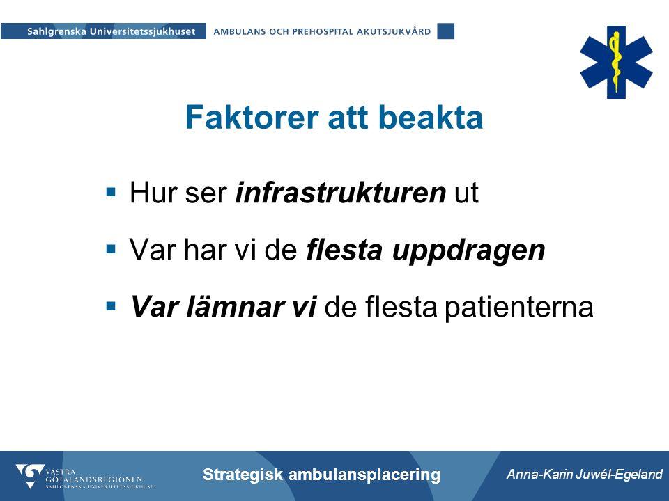 Anna-Karin Juwél-Egeland Strategisk ambulansplacering Faktorer att beakta  Hur ser infrastrukturen ut  Var har vi de flesta uppdragen  Var lämnar vi de flesta patienterna