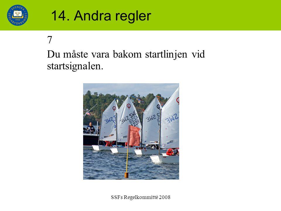 SSFs Regelkommitté 2008 14. Andra regler 7 Du måste vara bakom startlinjen vid startsignalen.