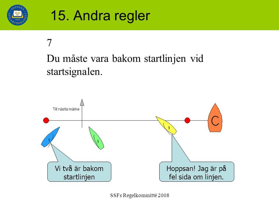 SSFs Regelkommitté 2008 15. Andra regler 7 Du måste vara bakom startlinjen vid startsignalen. Vi två är bakom startlinjen Hoppsan! Jag är på fel sida