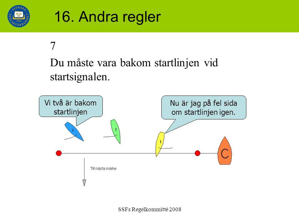 SSFs Regelkommitté 2008 16. Andra regler 7 Du måste vara bakom startlinjen vid startsignalen.