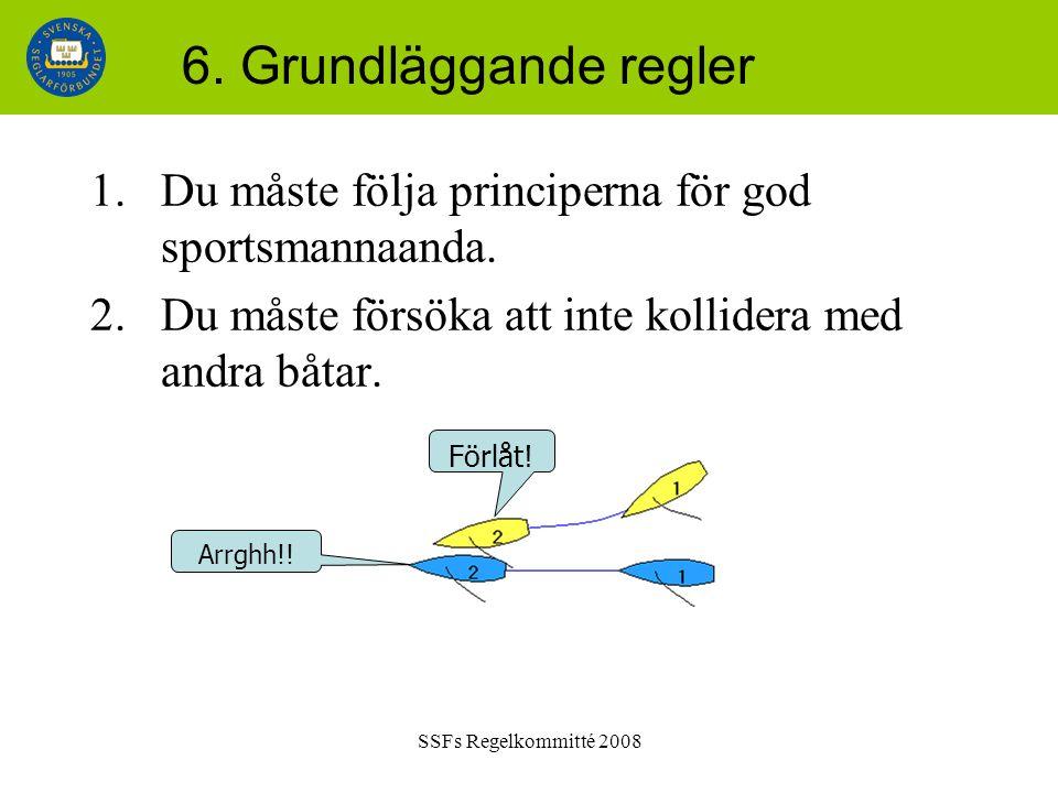 SSFs Regelkommitté 2008 6. Grundläggande regler 1.Du måste följa principerna för god sportsmannaanda. 2.Du måste försöka att inte kollidera med andra