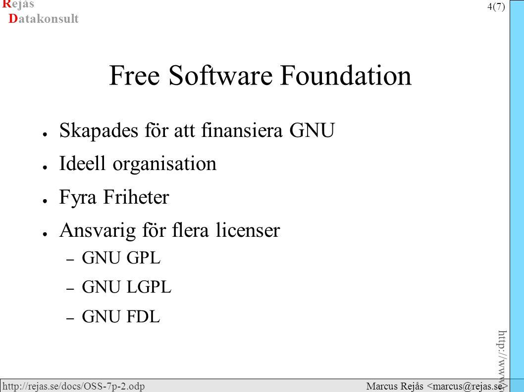 Rejås 4 (7) http://www.rejas.se – Fri programvara är enkelt http://rejas.se/docs/OSS-7p-2.odp Datakonsult Marcus Rejås Free Software Foundation ● Skapades för att finansiera GNU ● Ideell organisation ● Fyra Friheter ● Ansvarig för flera licenser – GNU GPL – GNU LGPL – GNU FDL