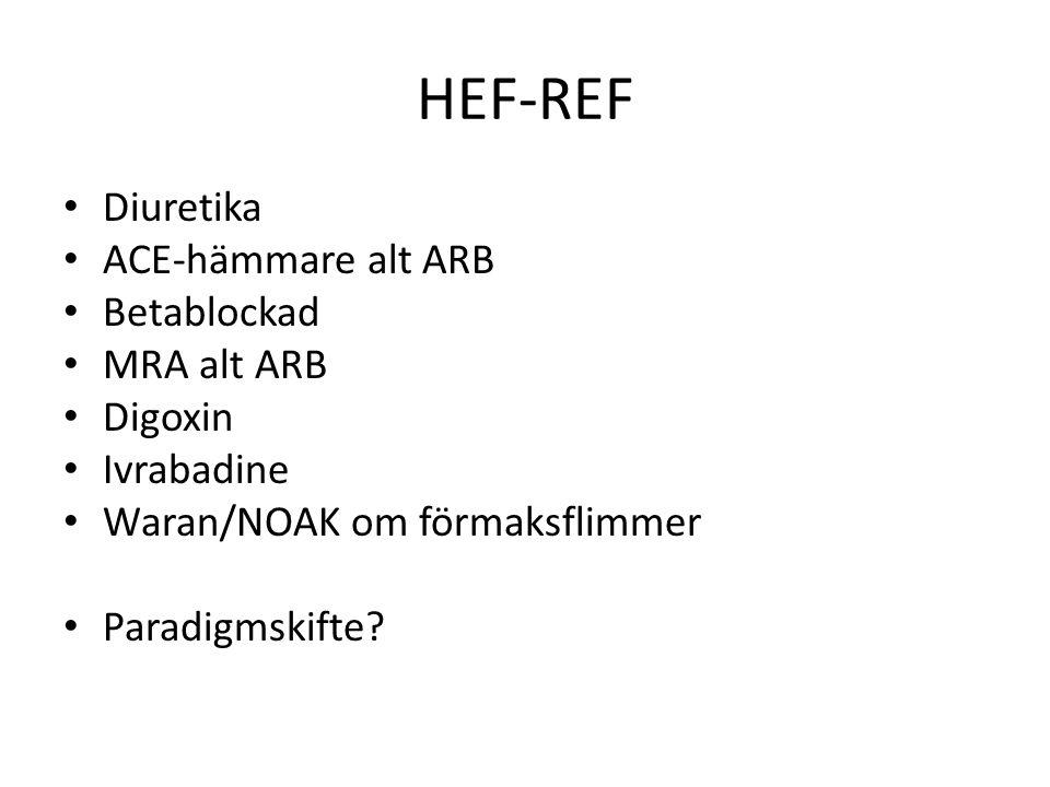 HEF-REF Diuretika ACE-hämmare alt ARB Betablockad MRA alt ARB Digoxin Ivrabadine Waran/NOAK om förmaksflimmer Paradigmskifte