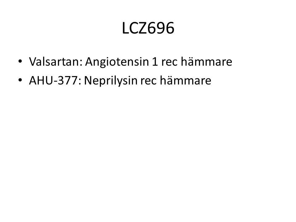 LCZ696 Valsartan: Angiotensin 1 rec hämmare AHU-377: Neprilysin rec hämmare