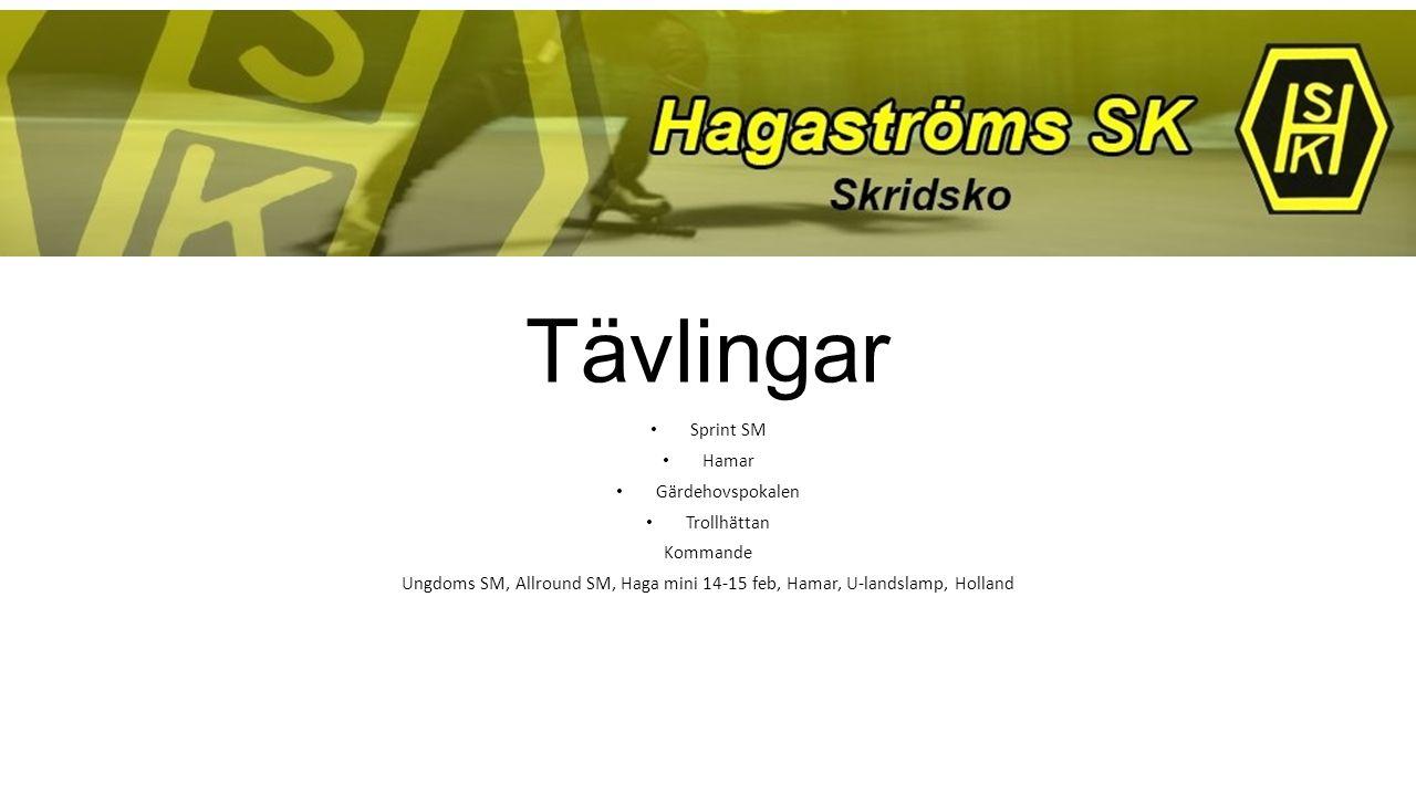 Tävlingar Sprint SM Hamar Gärdehovspokalen Trollhättan Kommande Ungdoms SM, Allround SM, Haga mini 14-15 feb, Hamar, U-landslamp, Holland