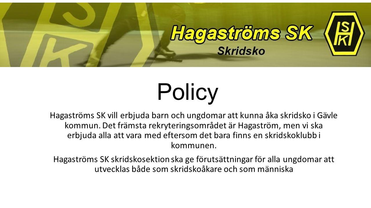 Policy Hagaströms SK vill erbjuda barn och ungdomar att kunna åka skridsko i Gävle kommun. Det främsta rekryteringsområdet är Hagaström, men vi ska er