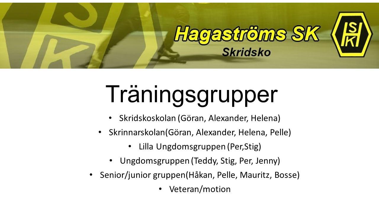 Träningsgrupper Skridskoskolan (Göran, Alexander, Helena) Skrinnarskolan(Göran, Alexander, Helena, Pelle) Lilla Ungdomsgruppen (Per,Stig) Ungdomsgrupp