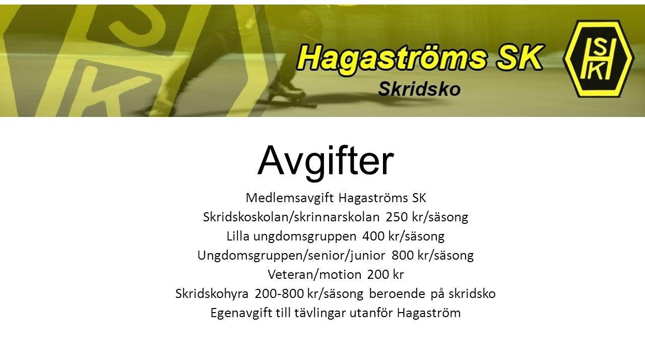 Avgifter Medlemsavgift Hagaströms SK Skridskoskolan/skrinnarskolan 250 kr/säsong Lilla ungdomsgruppen 400 kr/säsong Ungdomsgruppen/senior/junior 800 k