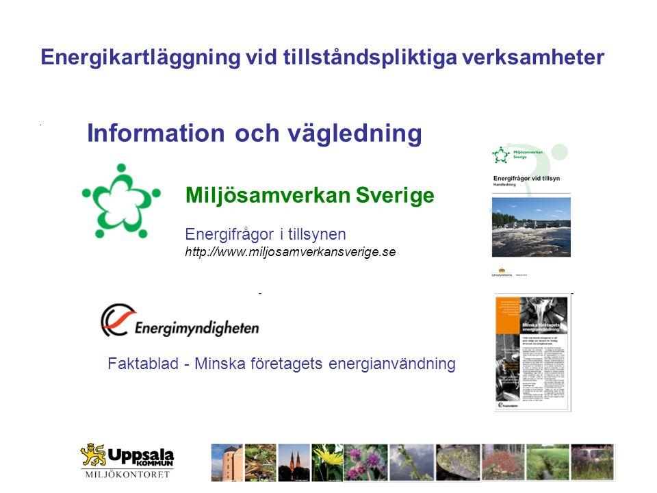 Miljösamverkan Sverige Energikartläggning vid tillståndspliktiga verksamheter Energifrågor i tillsynen http://www.miljosamverkansverige.se Faktablad - Minska företagets energianvändning.