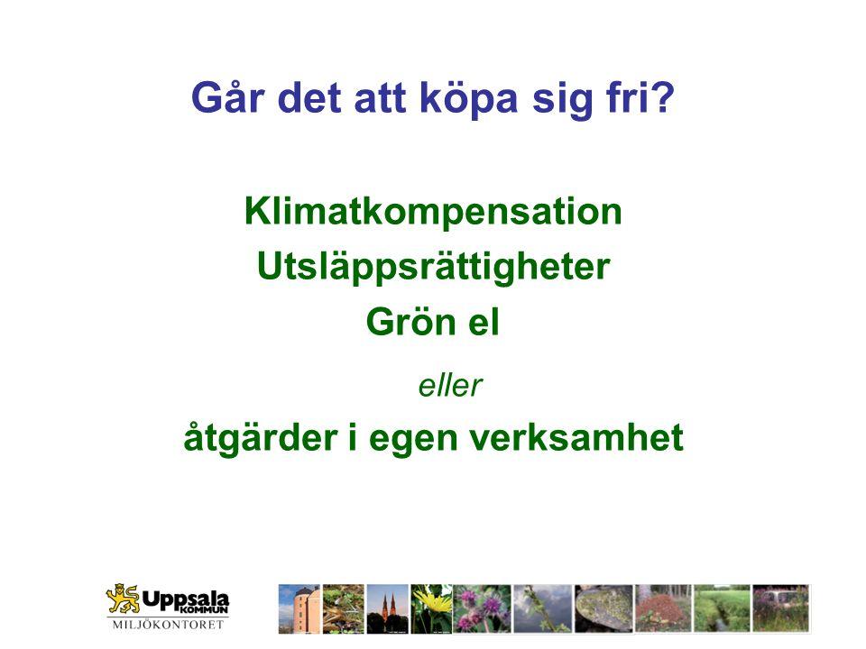 Går det att köpa sig fri? Klimatkompensation Utsläppsrättigheter Grön el eller åtgärder i egen verksamhet