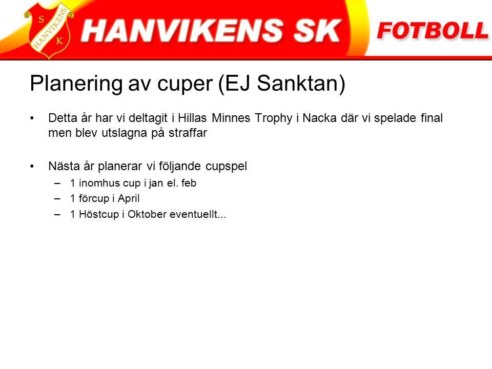 Planering av cuper (EJ Sanktan) Detta år har vi deltagit i Hillas Minnes Trophy i Nacka där vi spelade final men blev utslagna på straffar Nästa år planerar vi följande cupspel –1 inomhus cup i jan el.