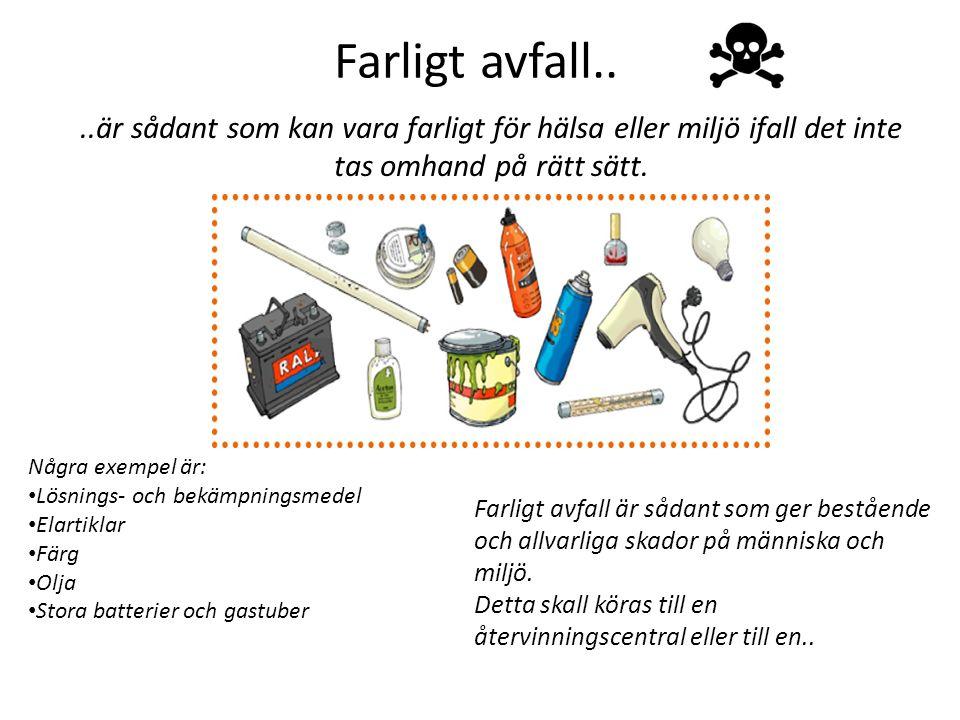Farligt avfall....är sådant som kan vara farligt för hälsa eller miljö ifall det inte tas omhand på rätt sätt.