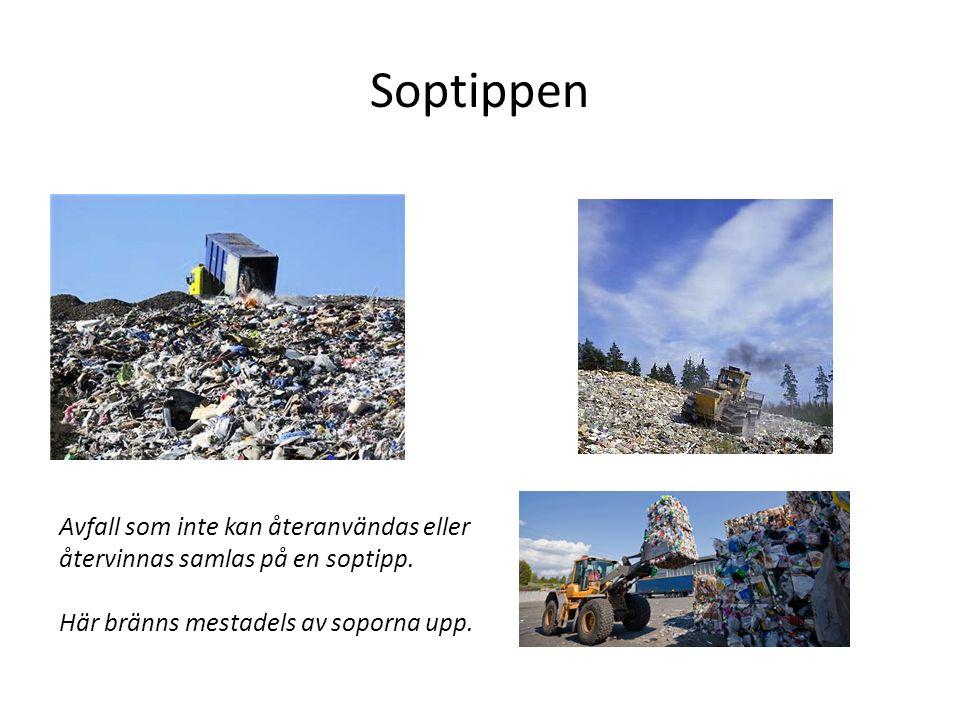 Soptippen Avfall som inte kan återanvändas eller återvinnas samlas på en soptipp.