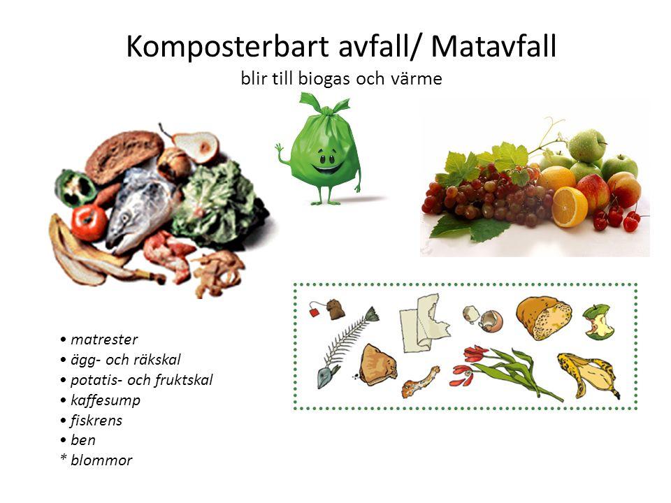 Komposterbart avfall/ Matavfall blir till biogas och värme matrester ägg- och räkskal potatis- och fruktskal kaffesump fiskrens ben * blommor