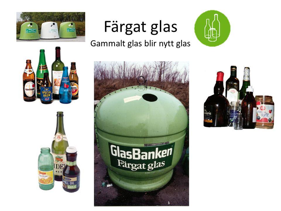 Färgat glas Gammalt glas blir nytt glas