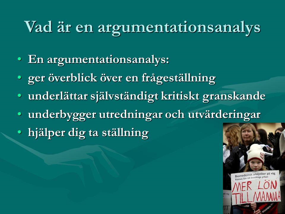 Vad är en argumentationsanalys En argumentationsanalys:En argumentationsanalys: ger överblick över en frågeställningger överblick över en frågeställning underlättar självständigt kritiskt granskandeunderlättar självständigt kritiskt granskande underbygger utredningar och utvärderingarunderbygger utredningar och utvärderingar hjälper dig ta ställninghjälper dig ta ställning