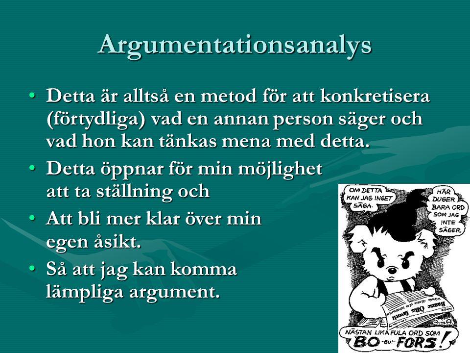 Argumentationsanalys Detta är alltså en metod för att konkretisera (förtydliga) vad en annan person säger och vad hon kan tänkas mena med detta.Detta är alltså en metod för att konkretisera (förtydliga) vad en annan person säger och vad hon kan tänkas mena med detta.