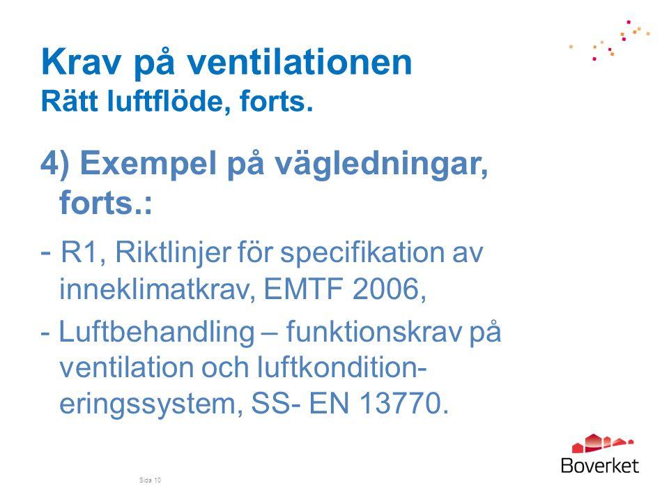 Krav på ventilationen Rätt luftflöde, forts. 4) Exempel på vägledningar, forts.: - R1, Riktlinjer för specifikation av inneklimatkrav, EMTF 2006, - Lu