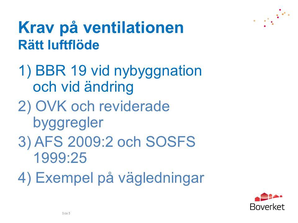Krav på ventilationen Rätt luftflöde 1) BBR 19 vid nybyggnation och vid ändring 2) OVK och reviderade byggregler 3) AFS 2009:2 och SOSFS 1999:25 4) Ex