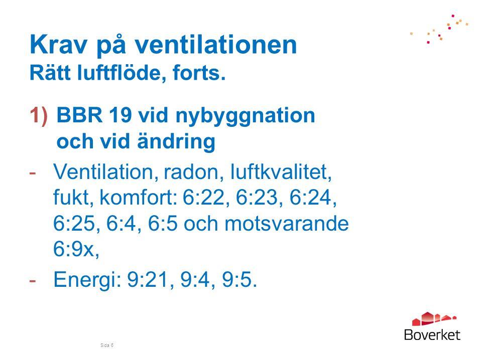Krav på ventilationen Rätt luftflöde, forts. 1)BBR 19 vid nybyggnation och vid ändring -Ventilation, radon, luftkvalitet, fukt, komfort: 6:22, 6:23, 6