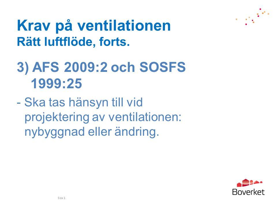 Krav på ventilationen Rätt luftflöde, forts. 3) AFS 2009:2 och SOSFS 1999:25 - Ska tas hänsyn till vid projektering av ventilationen: nybyggnad eller