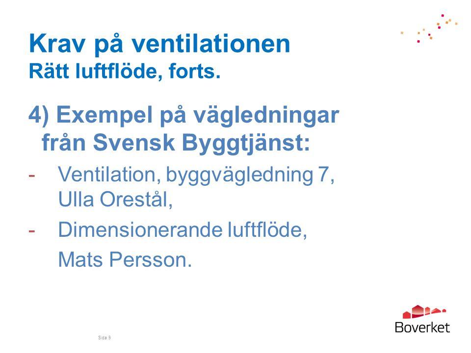 Krav på ventilationen Rätt luftflöde, forts. 4) Exempel på vägledningar från Svensk Byggtjänst: -Ventilation, byggvägledning 7, Ulla Orestål, -Dimensi
