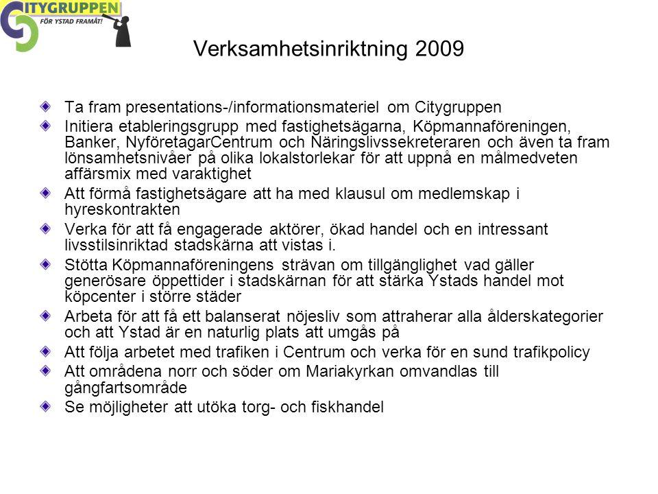 Verksamhetsinriktning 2009 Ta fram presentations-/informationsmateriel om Citygruppen Initiera etableringsgrupp med fastighetsägarna, Köpmannaföreningen, Banker, NyföretagarCentrum och Näringslivssekreteraren och även ta fram lönsamhetsnivåer på olika lokalstorlekar för att uppnå en målmedveten affärsmix med varaktighet Att förmå fastighetsägare att ha med klausul om medlemskap i hyreskontrakten Verka för att få engagerade aktörer, ökad handel och en intressant livsstilsinriktad stadskärna att vistas i.