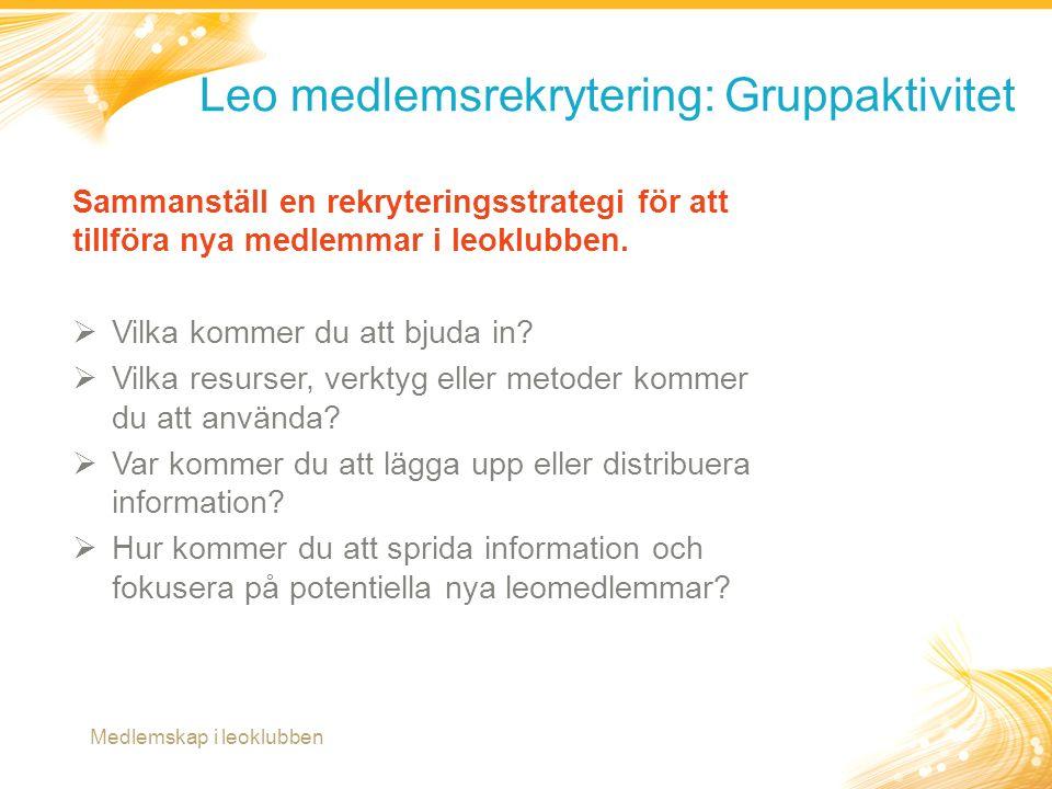 13 Leo medlemsrekrytering: Gruppaktivitet Medlemskap i leoklubben Sammanställ en rekryteringsstrategi för att tillföra nya medlemmar i leoklubben.