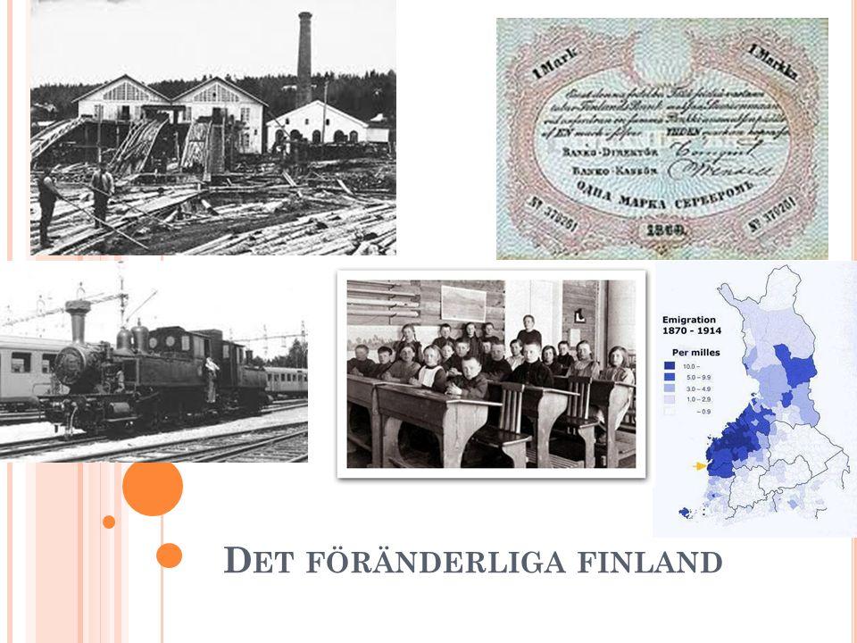 N ÖDÅREN 1867–1868 Fram till hungeråren 1867–1868 hade inte industrialiseringen kommit igång i Finland Brist på pengar Brist på kunnande Stränga regler som begränsade företagande Hungeråren fungerade som en väckarklocka om att reformer måste göras