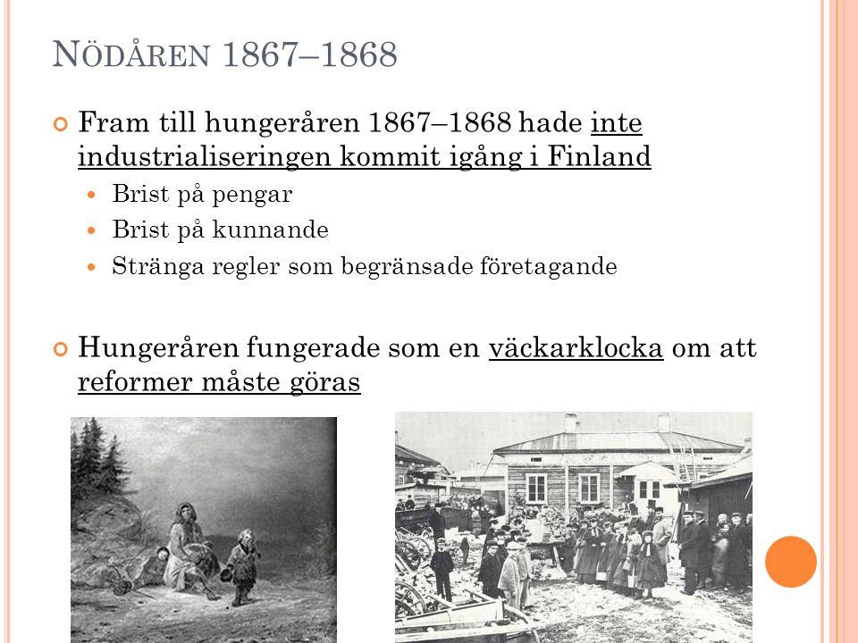 N ÖDÅREN 1867–1868 Fram till hungeråren 1867–1868 hade inte industrialiseringen kommit igång i Finland Brist på pengar Brist på kunnande Stränga regle
