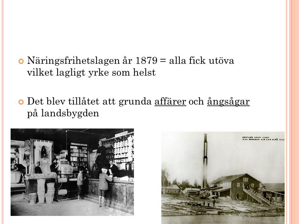Näringsfrihetslagen år 1879 = alla fick utöva vilket lagligt yrke som helst Det blev tillåtet att grunda affärer och ångsågar på landsbygden