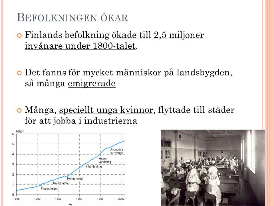 B EFOLKNINGEN ÖKAR Finlands befolkning ökade till 2,5 miljoner invånare under 1800-talet. Det fanns för mycket människor på landsbygden, så många emig