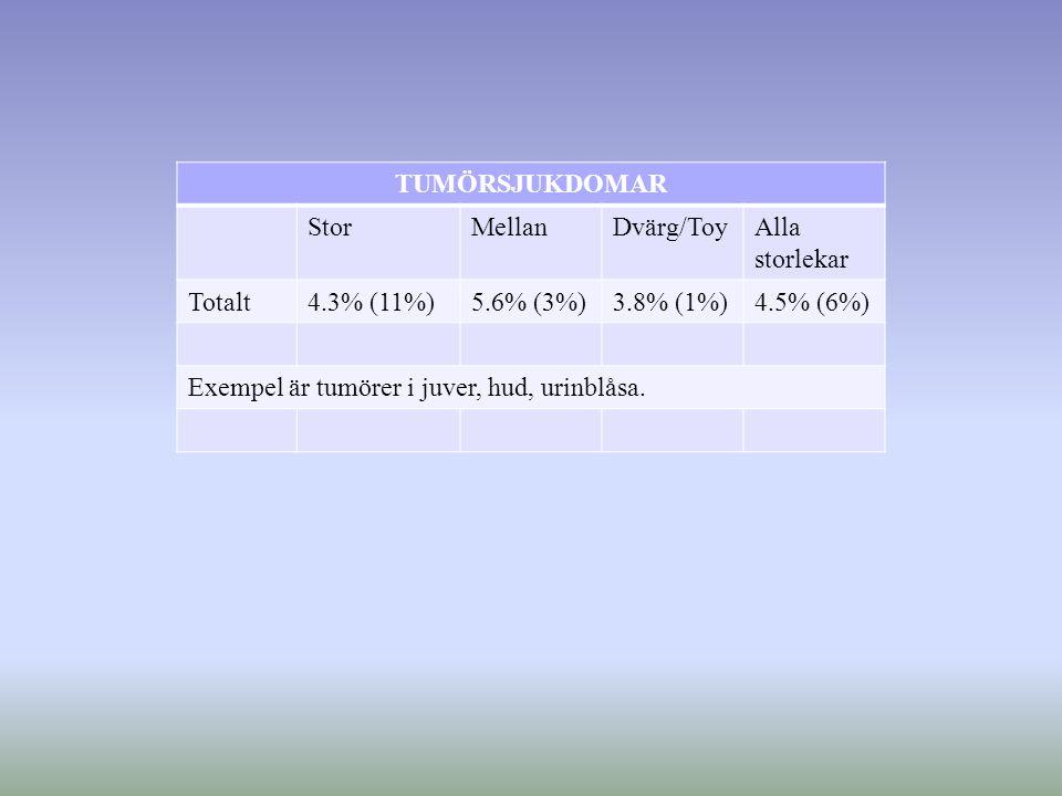 TUMÖRSJUKDOMAR StorMellanDvärg/ToyAlla storlekar Totalt4.3% (11%)5.6% (3%)3.8% (1%)4.5% (6%) Exempel är tumörer i juver, hud, urinblåsa.