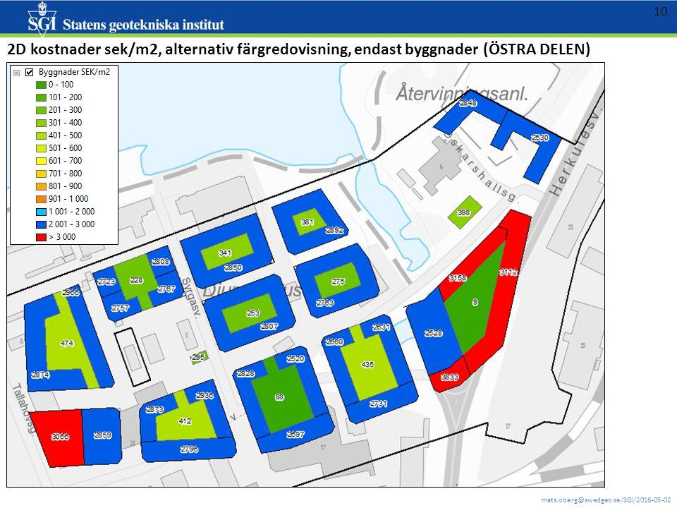 mats.oberg@swedgeo.se/SGI/2016-05-02 10 2D kostnader sek/m2, alternativ färgredovisning, endast byggnader (ÖSTRA DELEN)