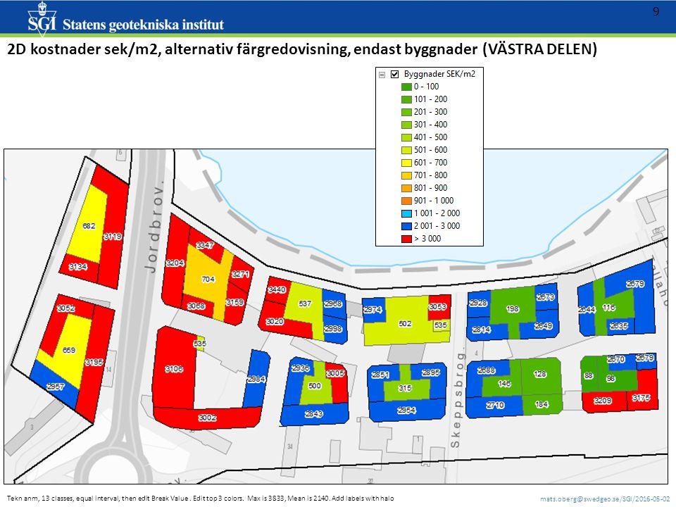 mats.oberg@swedgeo.se/SGI/2016-05-02 9 2D kostnader sek/m2, alternativ färgredovisning, endast byggnader (VÄSTRA DELEN) Tekn anm, 13 classes, equal interval, then edit Break Value.