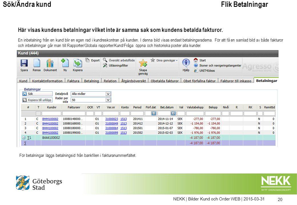 NEKK | Bilder Kund och Order WEB | 2015-03-31 20 Flik BetalningarSök/Ändra kund Här visas kundens betalningar vilket inte är samma sak som kundens betalda fakturor.