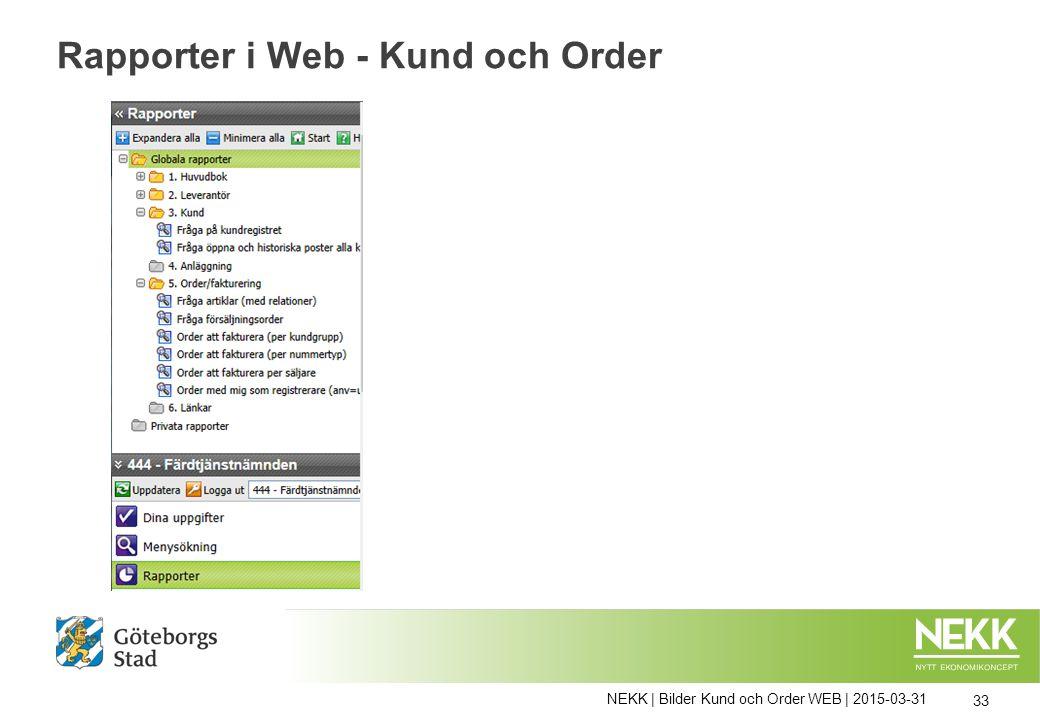 NEKK | Bilder Kund och Order WEB | 2015-03-31 33 Rapporter i Web - Kund och Order